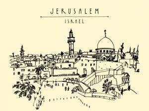 ירושלים איור שחור לבן